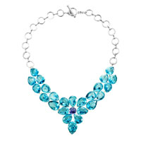 Statement Necklace Aquamarine Blue Square Teardrop Crystal Diamond Pendant