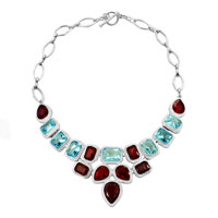 Statement Necklace Chunky Bubble Garnet Red Aquamarine Blue Bib Water Drop Pendant