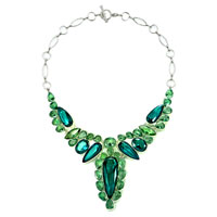 Statement Necklace Chunky Bubble Peridot Green Blue Topaz Water Drop Bib Pendant