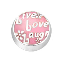 Jewelry Floating Memory Living Locket Pink Live Love Laugh Round Charms