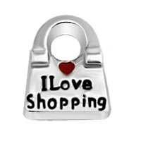 Floating Memory Living Locket I Love Shopping Handbag Heart Charms