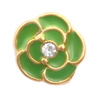 Green Flower Clear Crystal Floating Charms For Living Memory Lockets