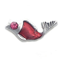 Red Fish With Crystal Cz Floating Charms For Living Memory Lockets