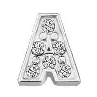 Silver A Initial Crystal Cz Floating Charms For Living Memory Locket