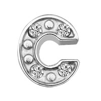 Silver C Initial Crystal Cz Floating Charms For Living Memory Locket