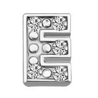Silver E Initial Crystal Cz Floating Charms For Living Memory Locket