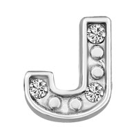 Silver J Initial Crystal Cz Floating Charms For Living Memory Locket