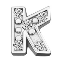 Silver K Initial Crystal Cz Floating Charms For Living Memory Locket