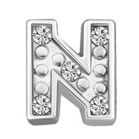 Silver N Initial Crystal Cz Floating Charms For Living Memory Locket