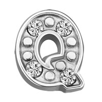 Silver Q Initial Crystal Cz Floating Charms For Living Memory Locket