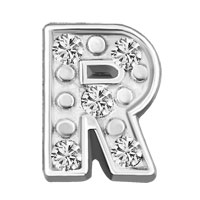 Silver R Initial Crystal Cz Floating Charms For Living Memory Locket