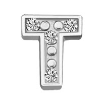 Silver T Initial Crystal Cz Floating Charms For Living Memory Locket