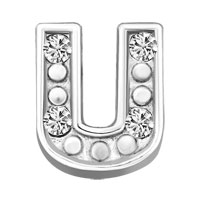 Silver U Initial Crystal Cz Floating Charms For Living Memory Locket