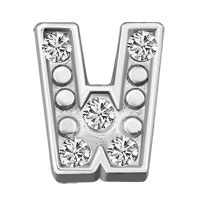 Silver W Initial Crystal Cz Floating Charms For Living Memory Locket