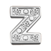 Silver Z Initial Crystal Cz Floating Charms For Living Memory Locket