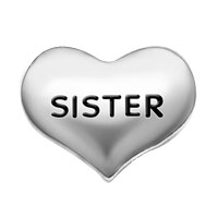 Silver Tone Sister Heart Floating Charms For Living Memory Locket