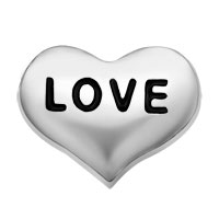 Silver Tone Love Heart Floating Charms For Living Memory Locket