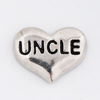 Silver P Uncle Heart Floating Charms For Living Memory Locket