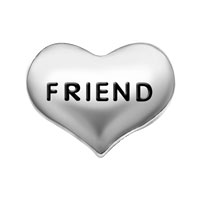 Silver P Friend Heart Floating Charms For Living Memory Locket