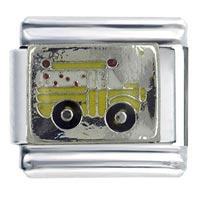Enamel Silver Tone School Bus Autumn Fashion Jewelry Italian Charm