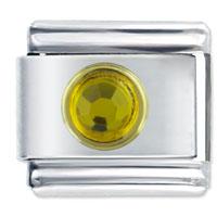 November Topaz Birthstone Circle Rhinestone Italian Charms Bracelet Link