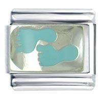 New Jewelry Silver P Footprints Blue Italian Charms Links Bracelets