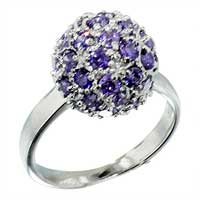 Purple Cz Studded February Sterling Silver Ring