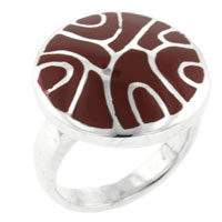 Fashion Jewelry Red Mother Of Pearl Swirl Sterling Silver Ring Size 6