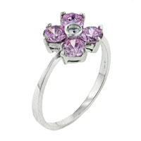Size6 Pink Cz Flower Sterling Silver Ring Gift Jewelry Fashion