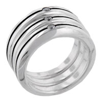 Round Cut Stripes Trios Band Sterling Silver Cz Right Hand Ring