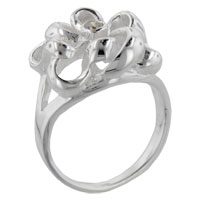Size6 Round Cz Ribbon Sterling Silver Ring Gift Fashion Jewelry