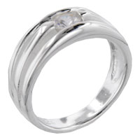 Round Cut Triple Bands Band Sterling Silver Cz Right Hand Ring