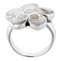 Size 6 Faux Mother Pearl Daisy Sterling Silver Ring