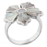 Faux Mother Of Pearl Flower Rings