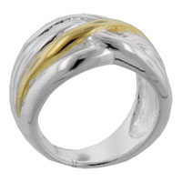 Gold Tone Wave Sterling Silver Rings