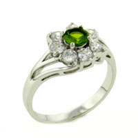Fashion Round Cut Periot Cz Flower 925 Sterling Silver Rings Jewelry