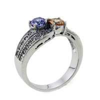 Size7 Round Cut Tri Color Cz Ring
