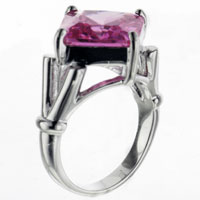 Size7 Square Cut Pink Cz Sterling Silver Ring