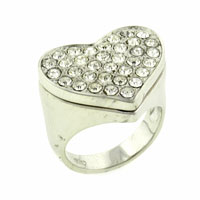 Hearts Sterling Silver Cz Engagement Right Hand Ring