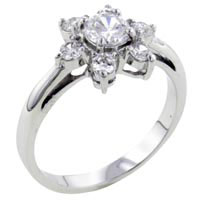 Fashion Round Cut Clear Cz Flower 925 Sterling Silver Ring Jewelry