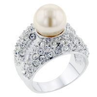 Size7 Pearl Cz Encrusted Ring