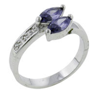 Double Marqusie Cut Amethyst Ring