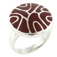 Red Mother Of Pearl Swirl Rings