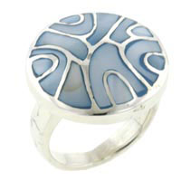Blue Mother Of Pearl Swirl Rings