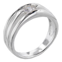 Round Cut Triple Band Sterling Silver Cz Right Hand Ring