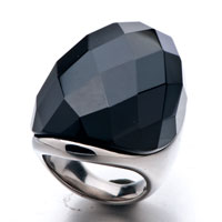 Size7 Black Cut Round Agate Ring