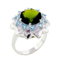 Fashion 925 Sterling Silver Round Cut Peridot Cz Starburst Ring