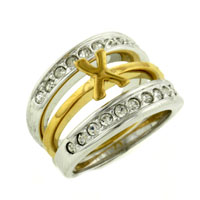 Size8 Clear Cz 925 Sterling Silver 14 K Gold Plated X Ring Two Tone