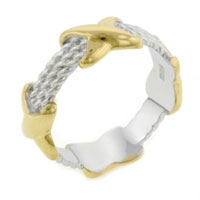 Classic 925 Sterling Silver Ring With 14 K Gold Plated X Two Tone