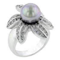 Fashion Size 8 925 Sterling Silver Ring Pearl Flower Ring Jewelry
